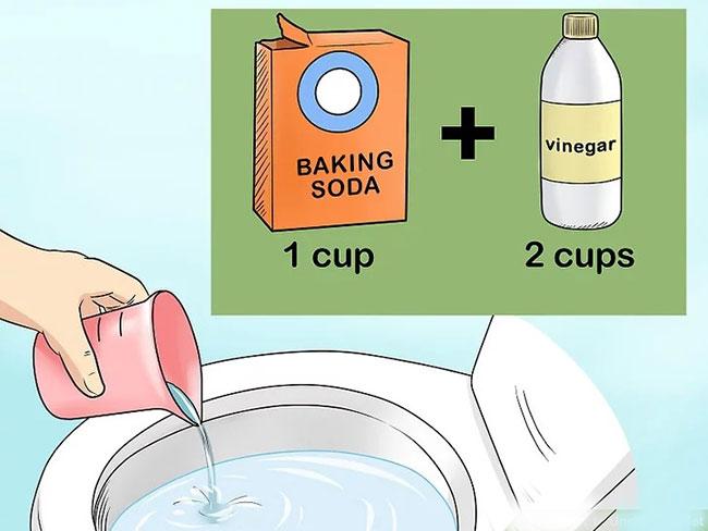 Sử dụng baking soda, giấm và nước nóng